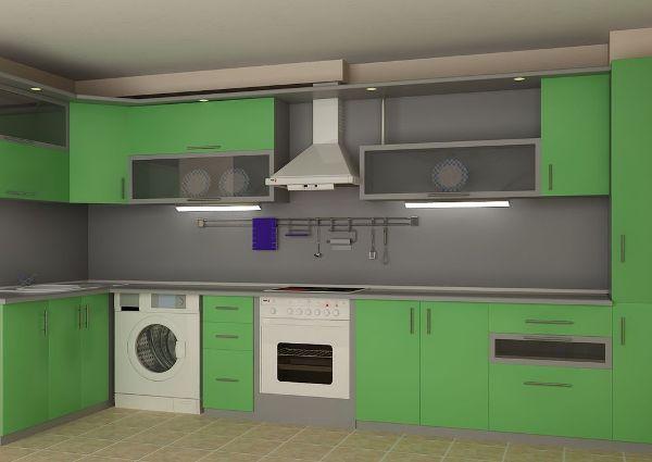 Стиральная машина, встроенная в кухню. Фото с сайта f1designe.ru