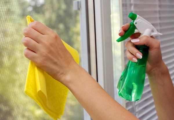Отмывая следы скотча с окон, действуйте так же, как и при обычном мытье стекол. Фото с сайта homester.com.ua